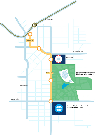 The proposed Inglewood Transit Connector will connect people, places